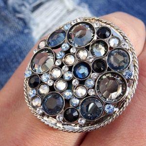 Blue Rhinestone Crystal Sorrelli Statement Ring